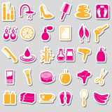 Beauty theme big set of various stickers eps10 Stock Image