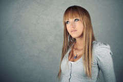 Beauty thinking girl Stock Images