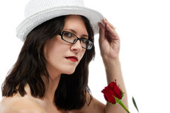 Beauty tips her hat Stock Photo