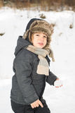 Beauty toddler boy in the snow Stock Image