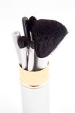 Beauty tools. A group of beauty brushes in a chrome case royalty free stock photo