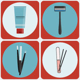 Beauty tools colorful icon set Royalty Free Stock Photos