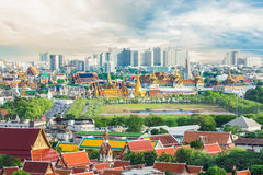 The beauty top view of the Emerald Buddha Temple in Bangkok Thai. Land Royalty Free Stock Image