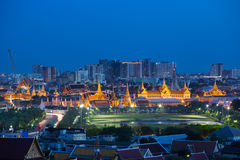 The beauty of top view the Emerald Buddha Temple at night, Bangk. Ok Thailand Royalty Free Stock Images