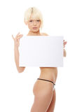 Beauty topless girl holding blank sign Royalty Free Stock Images