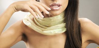 Beauty touching lips Royalty Free Stock Images