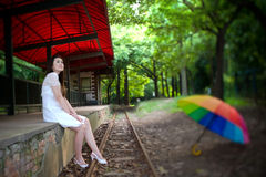 Beauty beside the track(side blur) Stock Photos