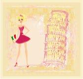 Beauty travel girl in Italy stock illustration