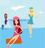 Travel girls in the airport Royalty Free Stock Images