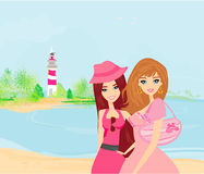 Beauty travel girls Royalty Free Stock Image