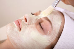 Beauty Treatment. A woman having cream brushed onto her face Stock Photos