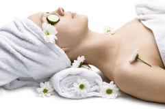 Beauty treatment. Portrait on white stock photos