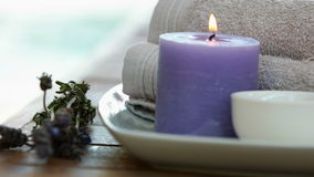 Beauty treatment in bowl presented on plate with dried lavender stock video