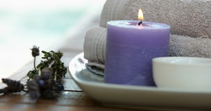 Beauty treatment in bowl presented on plate with dried lavender stock footage