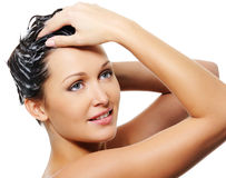 Beauty treatment for female hairs stock photo