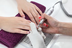 Beauty treatment of fingernails Stock Photo