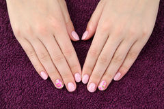 Beauty treatment of fingernails. Finger nail treatment,hands with painted fingernails Royalty Free Stock Photos
