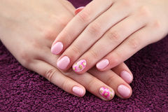 Beauty treatment of fingernails. Finger nail treatment,hands with painted fingernails Royalty Free Stock Image