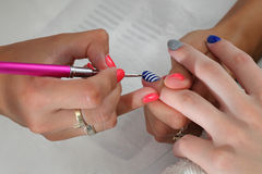 Beauty treatment of fingernails royalty free stock images