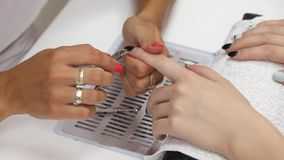 Beauty treatment of fingernails, nail and skin cut stock video footage