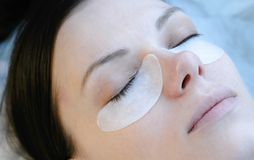 Beauty treatment. lash lamination. Closeup face. Beauty treatment and lash lamination - Closeup face Stock Photo