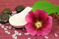 Beauty treatment with mallow. Spa treatment for beauty - mallow claret flower, salt crystals and pebbles Royalty Free Stock Photo