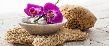 Beauty treatment and washing up concept with fresh pampering orchids. And cleansing stones in zen ayurveda decor over loofah background Royalty Free Stock Image