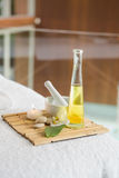 Beauty treatments on massage table Stock Images