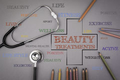 Beauty Treatments word cloud, health cross concept. Colored penc Stock Photos