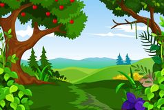 Beauty tree apple with forest landscape background Royalty Free Stock Photos