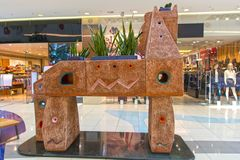 Trojan horse sculpture. Beauty trojan horse monument in supermarket hall, Almaty city Stock Image