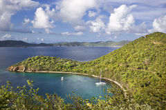 Beauty in the tropics. High view point of an island in the British Virgin Islands Stock Photos