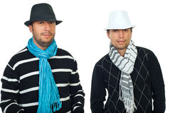 Beauty two men in hats and scarves Royalty Free Stock Photography