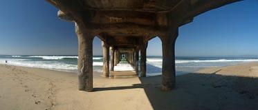 Beauty under the Manhattan Beach pier. Manhattan beach California Panoramic with the pier Royalty Free Stock Photography