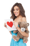 Beauty with Valentine card. Royalty Free Stock Images