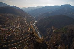 The beauty of the valley of Iskar River. Iskar River is the longest river in Bulgaria royalty free stock photo