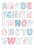 Beauty vector craft font. The beauty hand drawn craft font. Vector illustration royalty free illustration