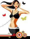 Beauty vector disco girl royalty free stock image