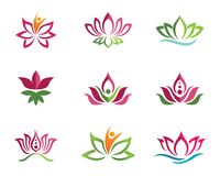 Lotus flowers design logo Template icon. Beauty Vector Lotus flowers design logo Template icon Stock Images