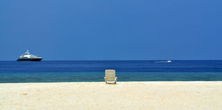 Beauty view from chaise lounge on the beach Royalty Free Stock Image