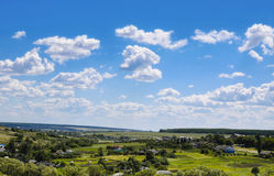 Beauty view of nature. Rural village and blue sky Royalty Free Stock Images