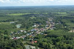 The beauty of the village in the forest top view stock photos