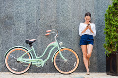 Beauty with vintage bike. Royalty Free Stock Photos
