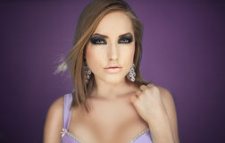 beauty violet glamour girl Stock Photography