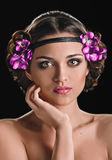 Beauty and violets Royalty Free Stock Photo