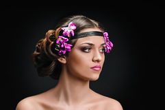 Beauty and violets Royalty Free Stock Image