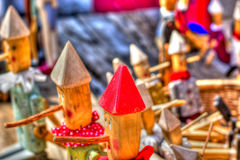 A party of wooden puppets. The beauty and the vivacity of colors Royalty Free Stock Photo