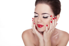 Beauty Vogue Style Fashion Model Girl with Long Lushes. Manicure Stock Photos