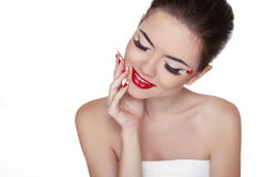 Beauty Vogue Style Fashion Model Girl with Long Lushes. Manicure Stock Photography
