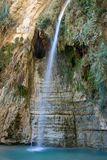 Beauty waterfall. High waterfall in oasis, Ein-Gedi park, Israel Royalty Free Stock Photo